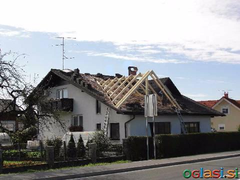 Prekivanje streh in izdelava novih ostrešij