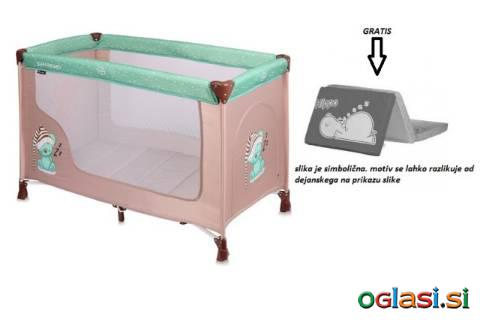 Zložljiva prenosna posteljica z zložljivim ležiščem