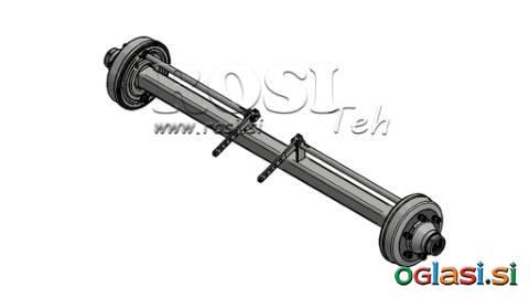 OSOVINA ZA PRIKOLICO 7200 kg Z ZAVORAMI (1600 mm)