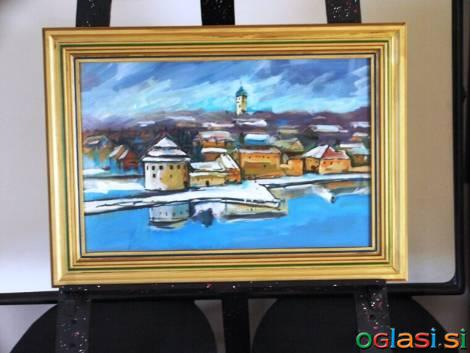 Umetniške slike, različnih velikosti, z okvirji