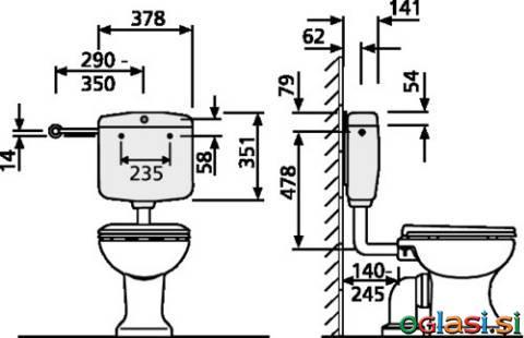 Splakovalnik SANIT 936 (6L) nizka montaža brez kotnega ventila beli