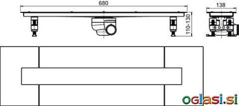 Tuš kanaleta SANIT za beton iz nerjavečega jekla Š:70 D:650