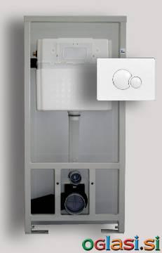 Samostoječi vgradni WC element SANIT 995 N s tipko S 706 sijaj krom ter nosilci