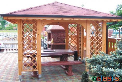 Vrtni leseni paviljoni, 6-kotni