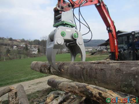 Prijemalo (grabež / kibla / grajfer) za les, hlodovino, biomaso